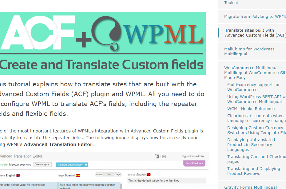 Advanced Custom Fields Multilingual (ACFML) Nulled