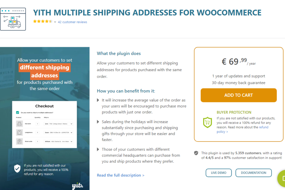 YITH Multiple Shipping Addresses for WooCommerce Nulled